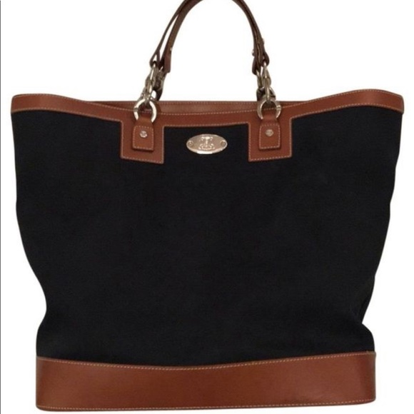 3ac08f99f4e6 Celine Handbags - Authentic Celine  Navy Blue and Tan Canvas Tote